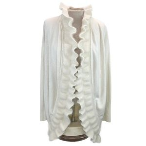 WHBM Cream Rabbit Fur Lambswool Blend Cardigan S